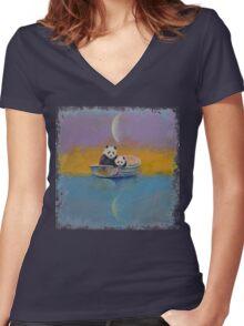 Panda Lake Women's Fitted V-Neck T-Shirt
