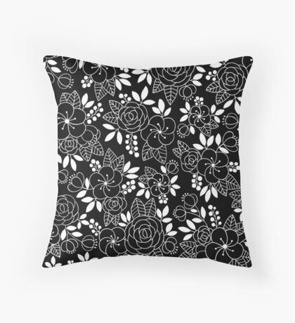 Rosalie Black Drawing with Ink Throw Pillow