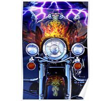 Motorcycle Art with Skull Pistols and Flames Poster