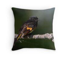 American Redstart On The Web Throw Pillow