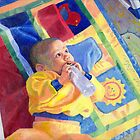 Baby Drinking Bottle Looking at the Light by Celeste Schor