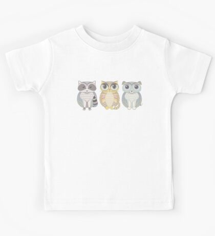 Raccoon, Cat, Dog Blue Kids Tee