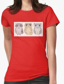 Raccoon, Cat, Dog Blue Womens Fitted T-Shirt