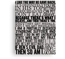 In The Flesh quotes Canvas Print