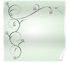 Silver branches and gems illustration Poster
