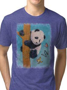 Panda Butterflies Tri-blend T-Shirt