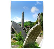Two Falling Headstone - Glendalough,Ireland Poster