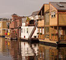 Houseboats at Fisherman's Wharf, Victoria, British Columbia by Barb White