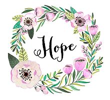 Hope Lettering Watercolor Ilustration by FloraminaDesign