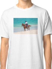 Horse rider on a Tropical Beach in Florida Classic T-Shirt