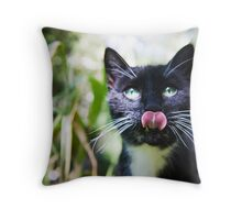 Black cat licking her lips Throw Pillow