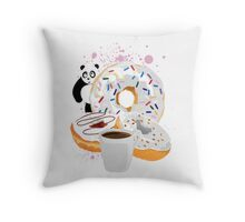 Panda & White Donuts Throw Pillow