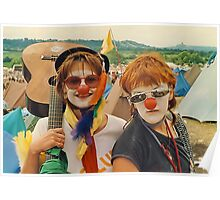 Happy Girls at Glastonbury festival . Poster