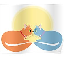 Two Cats And The Moon Poster
