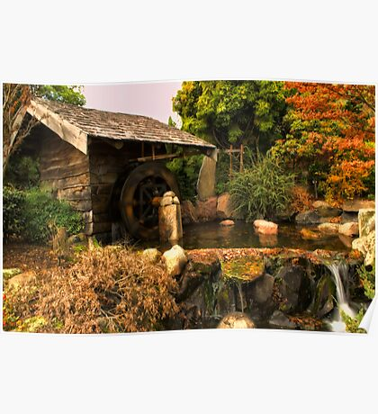 Mill shed with water wheel Poster
