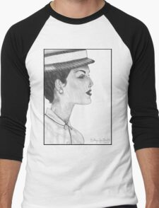 1950's Female: In Profile (with background) Men's Baseball ¾ T-Shirt