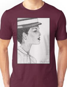 1950's Female: In Profile (with background) Unisex T-Shirt