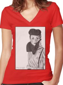Spy (with background) Women's Fitted V-Neck T-Shirt