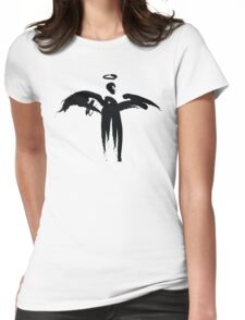 Angel (Black on White) Womens Fitted T-Shirt