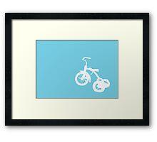 White Trike on Blue Framed Print