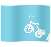 White Trike on Blue Poster