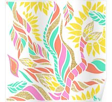 Summer bright modern coral gold turquoise floral  Poster