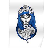 Santa Muerte Blue hair Poster
