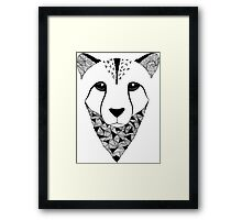 Cheetah black and white Framed Print