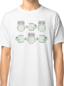 Three Cool Fish and Three Cool Owls Classic T-Shirt