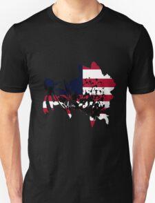 Flag Peony Black Background Unisex T-Shirt