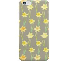 Yellow Watercolour Stemmed Daffodil Pattern on Khaki  iPhone Case/Skin