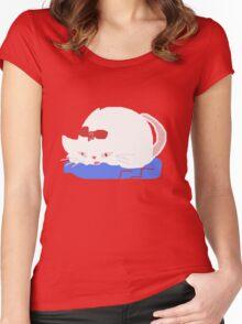 Sleepy White Cat  T SHIRT Women's Fitted Scoop T-Shirt