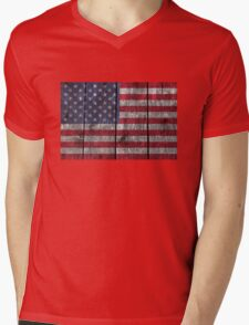 """Old Glory"" on wood Mens V-Neck T-Shirt"