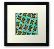 Green Watercolour Ink Drawn Turtle Pattern Framed Print