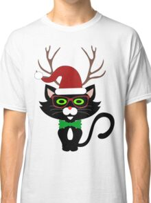 Funny Hipster Xmas Cat Classic T-Shirt