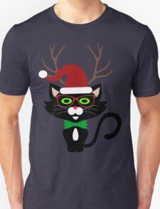 Funny Hipster Xmas Cat T-Shirt