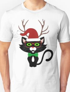 Funny Hipster Xmas Cat T-Shirt