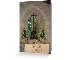 Cross in St Boniface old Church, IOW. Greeting Card