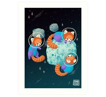 Red Space Pandas Art Print