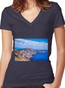 RIM INTO THE BLUE Women's Fitted V-Neck T-Shirt