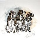 Loyal Friends - 3 Spaniels in a row by Katie Hough