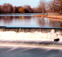 Dam on Fox River in Waukesha, WI  by James Formo