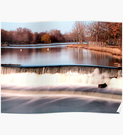 Dam on Fox River in Waukesha, WI  Poster