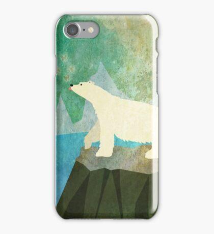 Playful Polar Bear in the Northern Lights iPhone Case/Skin