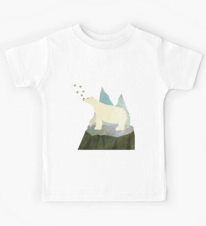 Playful Polar Bear in the Northern Lights Kids Tee