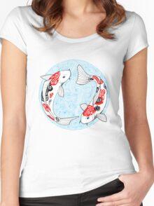 Fish carp koi blue Women's Fitted Scoop T-Shirt