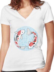 Fish carp koi blue Women's Fitted V-Neck T-Shirt