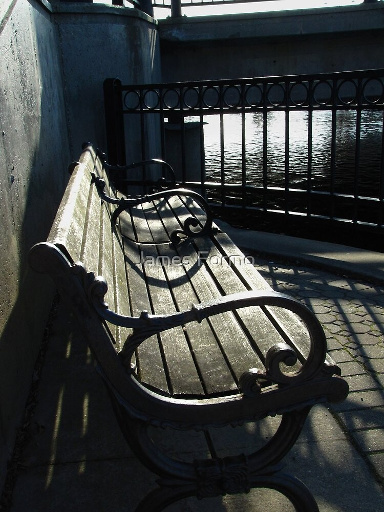 Inviting Park Bench by Bridge across the Fox River in Waukesha by James Formo