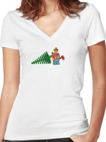 LEGO Lumberjack with a Tree Women's Fitted V-Neck T-Shirt