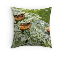 """Green Lake Ducks"" Throw Pillow"